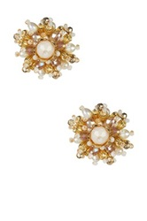 Stella Ruby Beaded Flower Earrings Metallic