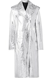 Calvin Klein 205W39nyc Convertible Metallic Leather Trench Coat Silver