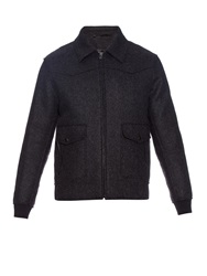 Lanvin Double Faced Wool Blend Bomber Jacket