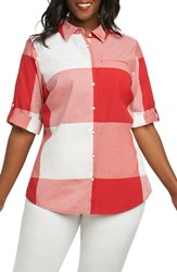 Foxcroft Plus Size Women's Reese Gingham Shirt Regatta Red
