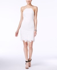 Guess Crocheted Lace Halter Sheath Dress White