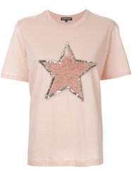 Markus Lupfer Sequined Star T Shirt Pink