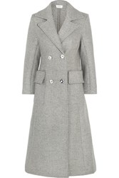 Isa Arfen Double Breasted Wool And Angora Blend Coat Light Gray