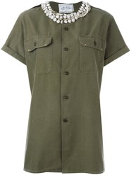 Forte Couture Stoned Collar Shirt Green