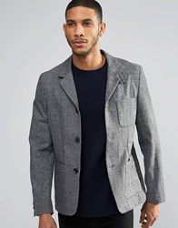 Farah Hendricks Heritage Blazer In Herringbone Grey