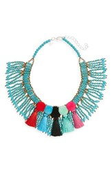 Panacea Women's Beaded Pompom Tassel Statement Necklace