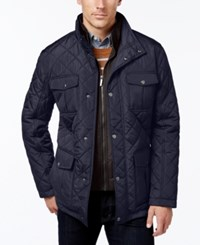 London Fog Men's Corduroy Trim Layered Quilted Jacket Navy
