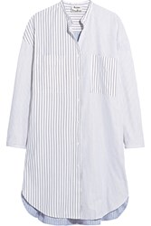 Acne Studios Esloane Pinstriped Cotton Pique Shirt Dress Sky Blue