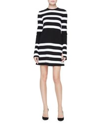 Calvin Klein Striped Long Sleeve Jersey Dress Black White Black White