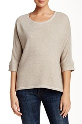 Zoa 3 4 Dolman Sleeve Textured Yoke Sweater Beige