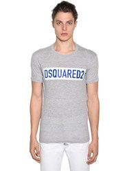 Dsquared Printed Cotton Jersey T Shirt Heather Grey