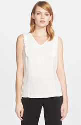 Kate Spade Ruffle Front Sleeveless Top Cream