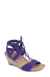 Vionic Women's Tansy Wedge Espadrille Sandal Purple Suede