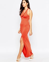 Love Cowl Neck Halter Dress Rust Red