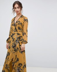 Hope And Ivy Long Sleeve Wrap Front Maxi Dress In Bird Print Ochre Print Multi