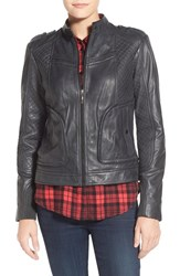 Women's Bernardo Quilted Leather Moto Jacket With Side Zips