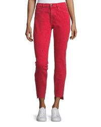 Frame Le High Skinny Leg Jeans With Raw Stagger Hem Red