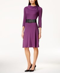 Styleandco. Style And Co. Belted Sweater Dress Only At Macy's Purple