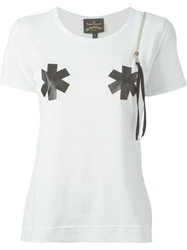 Vivienne Westwood Anglomania Zip Detail Printed T Shirt White