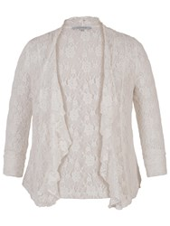 Chesca Stretch Lace Bead Shrug Ivory