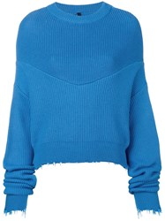 Unravel Project Long Sleeve Draped Sweater Blue