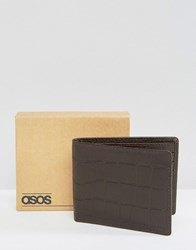 Asos Leather Wallet With Crocodile Emboss In Brown Brown