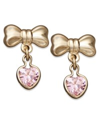 Macy's Children's 14K Gold Earrings Pink Cubic Zirconia Heart And Bow Drop