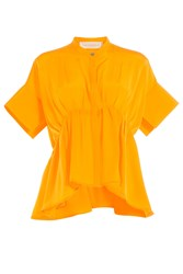 Victoria Victoria Beckham Gathered Silk Shirt Orange