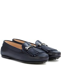 Tod's Lu Doppia Leather Loafers Blue
