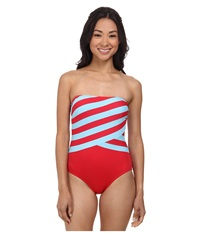 Dkny Spliced Bandeau Maillot W Removable Soft Cups Blazing Women's Swimsuits One Piece Green