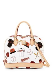 Dooney And Bourke Orioles Zip Zip Satchel White