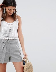 Oasis Tailored Shorts With Tie Waist In Grey Stripe Multi