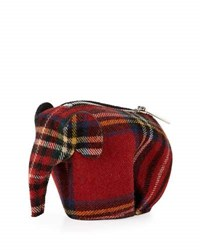 Loewe Plaid Elephant Bag Charm Coin Purse Red