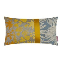 Clarissa Hulse Falling Leaves Patchwork Cushion Turmeric Storm Lemon 30X50cm