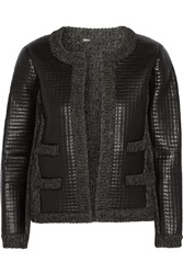 Maje Gommette Ribbed Knit And Faux Leather Jacket Black