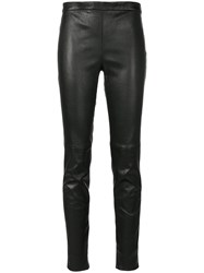 Saint Laurent Mid Waist Leather Leggings Women Lamb Skin 42 Black