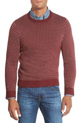 Men's Big And Tall Nordstrom Knit Stitch Crewneck Sweater With Elbow Patches Red Rosewood