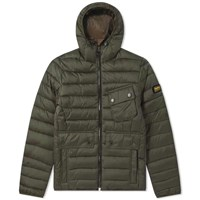 Barbour International Ouston Hooded Quilt Jacket Green