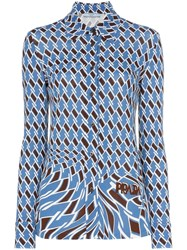 Prada Argyle Print Long Sleeved Shirt Blue