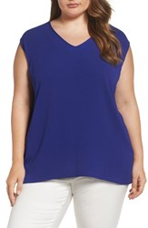Vince Camuto Plus Size Women's Mixed Media Tank Nile Blue