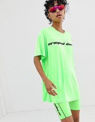 Criminal Damage Oversized T Shirt With Logo In Neon Green