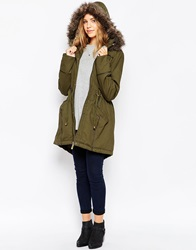 Brave Soul Cotton Twill Parka With Oversized Fur Trimmed Hood Khaki