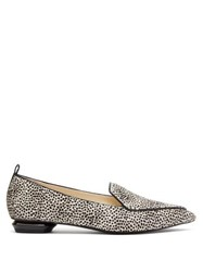 Nicholas Kirkwood Beya Leopard Print Calf Hair Loafers Black White