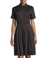 Melissa Masse Short Sleeve Button Front Pleated Shirtdress Black