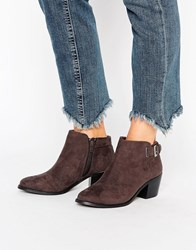 Head Over Heels Buckle Heel Boots Gray