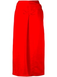 Isabel Marant Box Pleat Midi Skirt Women Ramie Viscose 38 Red