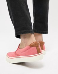 Polo Ralph Lauren Thompson 2 Pique Slip On Plimsolls Leather Trims In Pink Hyannis Red