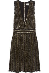 Badgley Mischka Beaded Crocheted Cotton Mini Dress Black