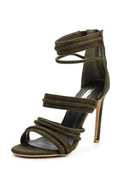 Lost Ink Rally Padded Strap Heeled Sandals Green
