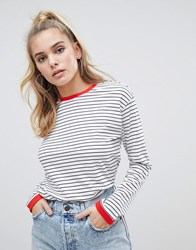 Noisy May Stripe Sweatshirt With Contrast Ringer Wht Blk W Red Black